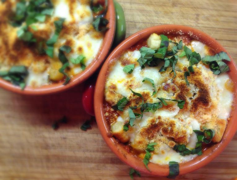 Garlic Parmesan Gnocchi, baked with homemade Marinara, Fresh Mozzarella & Basil