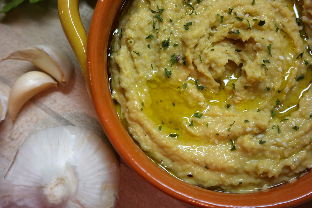 Roasted Garlic & Parmesan Hummus (using 1 bulb of garlic!) | eatlovegarlic.com @eatlovegarlic