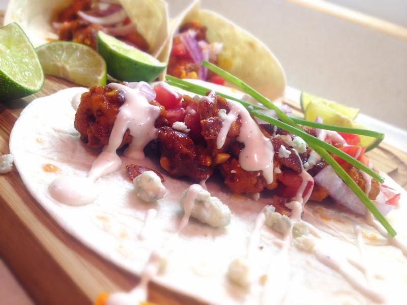 Garlicky Buffalo Chicken Bacon Tacos