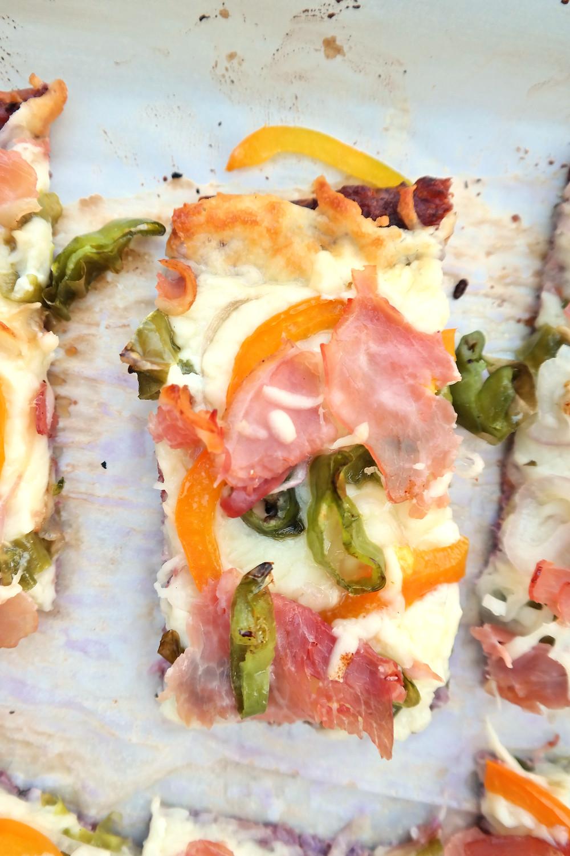 Stuffed Long Hot Pizza with a Purple Cauliflower Crust | eatlovegarlic.com @eatlovegarlic