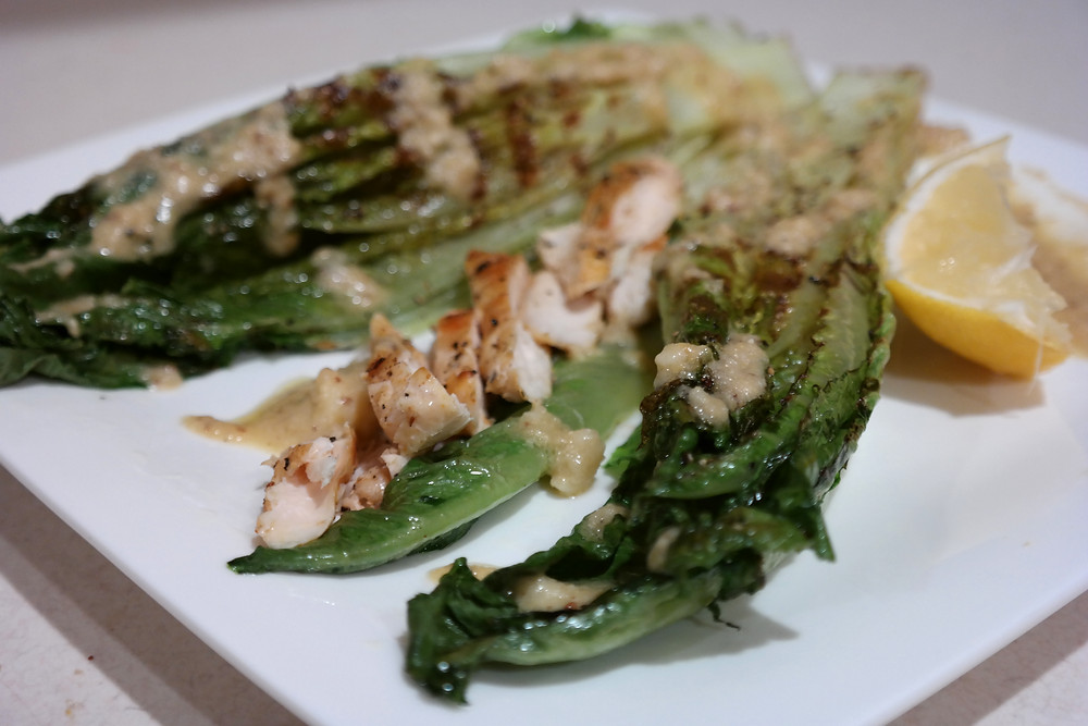 Grilled Romaine with a Light Caesar Dressing | eatlovegarlic.com @eatlovegarlic