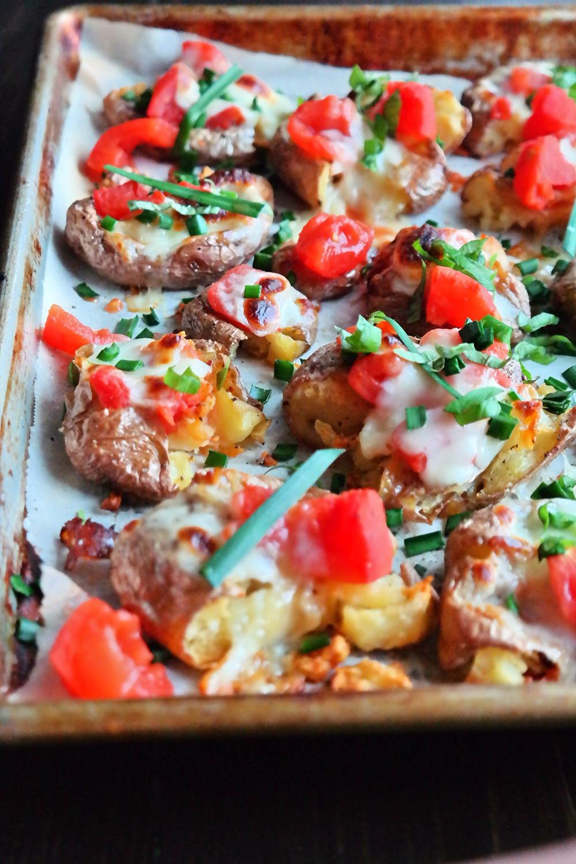 Caprese Crash Hot Potatoes | eatlovegarlic.com @eatlovegarlic