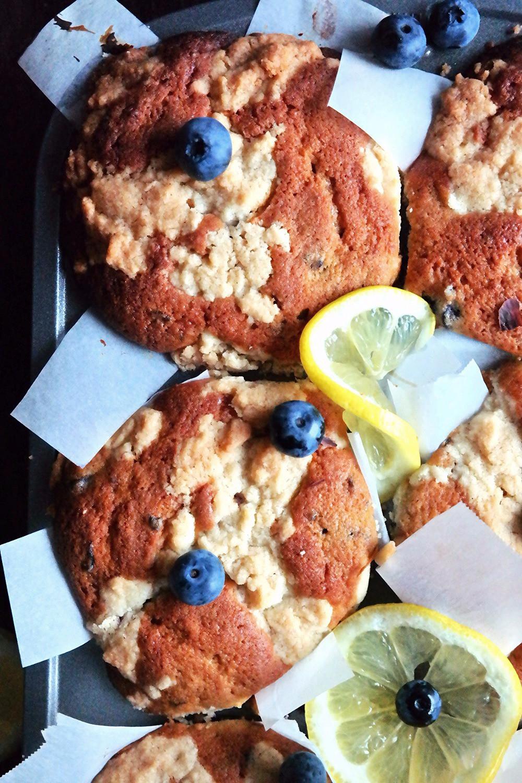 Limoncello Cheesecake stuffed Blueberry Muffins | eatlovegarlic.com @eatlovegarlic