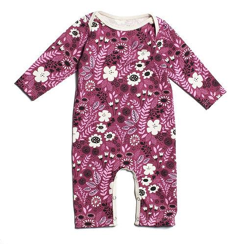 Long Sleeved Romper - Wildflowers Aubergine & Pink