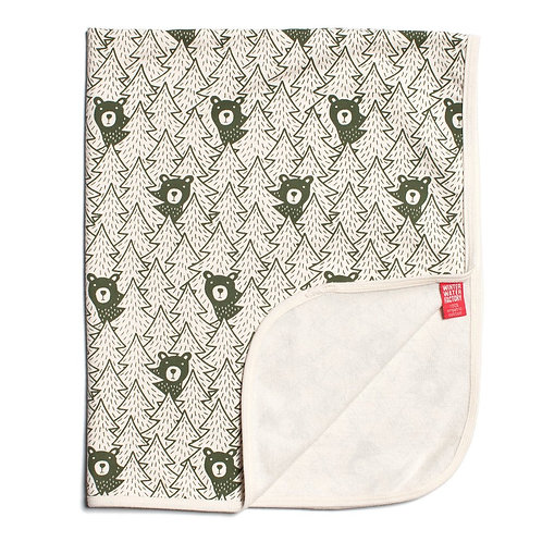 French Terry Blanket - Bears Forest Green