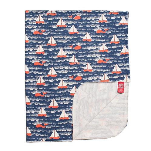Organic Jersey Cotton Blanket - Sailboats Navy & Orange