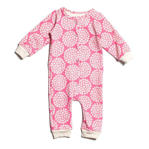 French Terry Jumpsuit - Flower Dots Pink