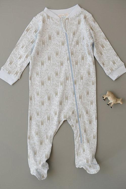 Zipper Footie – Sloth - Grey on Baby Blue
