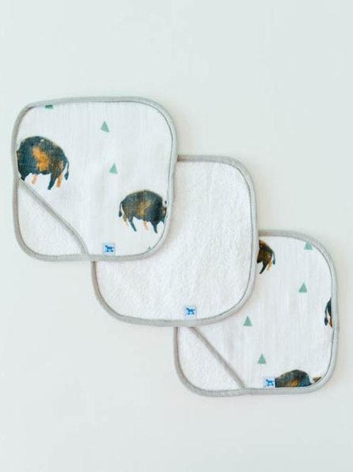 Cotton Wash Cloth 3 Pack - Bison