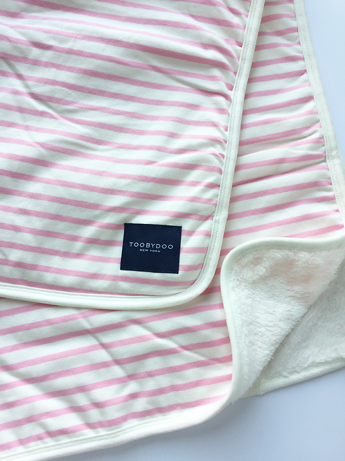 Pink & White Stripe Baby Blanket