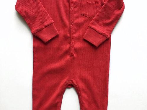 Union Suit - Ribbed Crimson