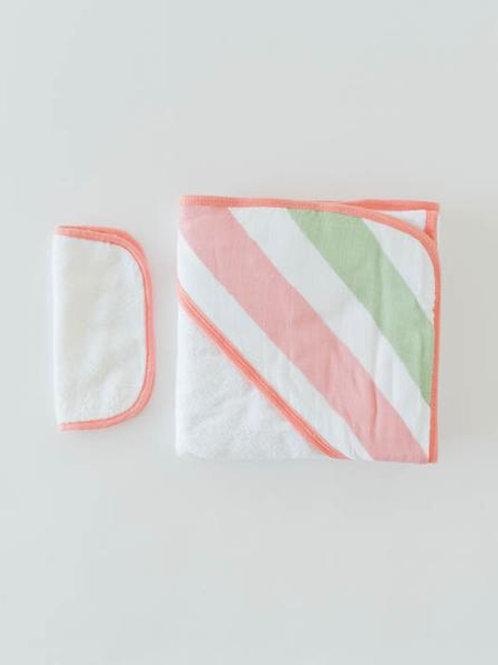 Cotton Hooded Towel & Wash Cloth - Cabana Stripe