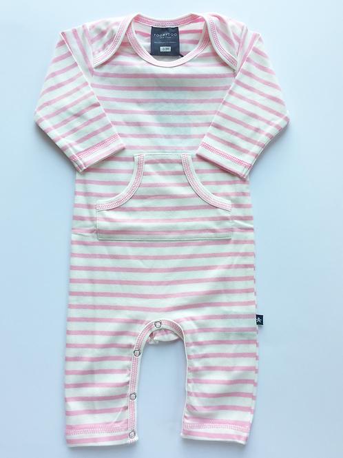 Pocket Jumpsuit - Pink & White Stripe