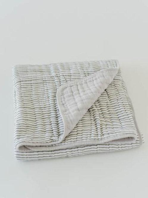 Cotton Muslin Quilt - Grey Stripe