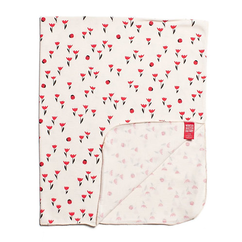 Organic Jersey Cotton Blanket - Tulips on Red