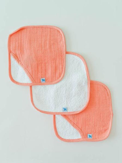 Cotton Wash Cloth 3 Pack - Coral