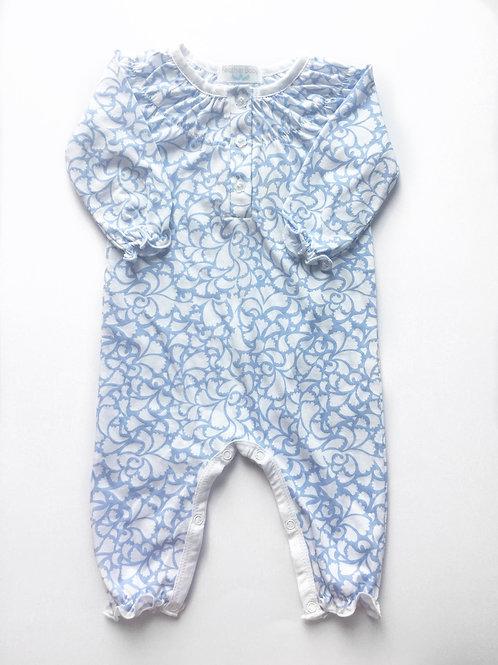 Ruched Romper - Blue Floral