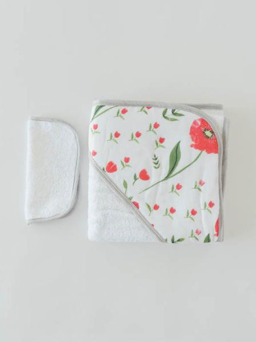 Cotton Hooded Towel & Wash Cloth - Summer Poppy