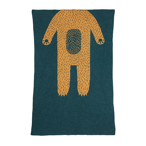 Bear Mini Blanket - Green & Gold