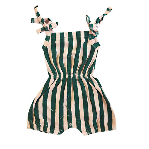 Terry Shoulder Tie Romper - Beverly Hills Stripe