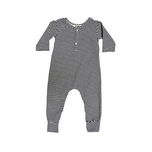 Placket Jumpsuit - Navy/Natural Stripe