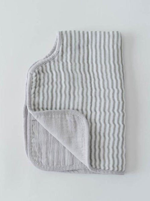 Cotton Muslin Burp Cloth - Grey Stripe
