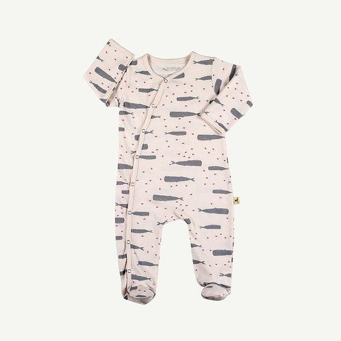 Kimono Jumpsuit LS - Twinkle Whales - Ice Pink