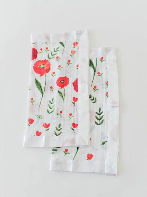Cotton Muslin Security Blanket 2 Pack - Summer Poppy