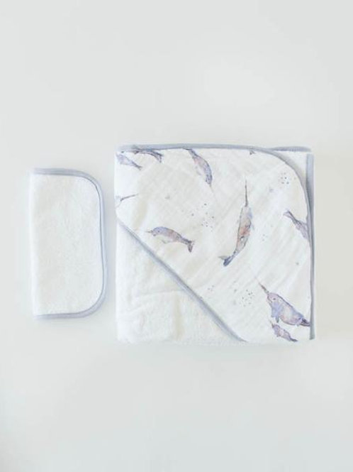 Cotton Hooded Towel & Wash Cloth - Narwhal
