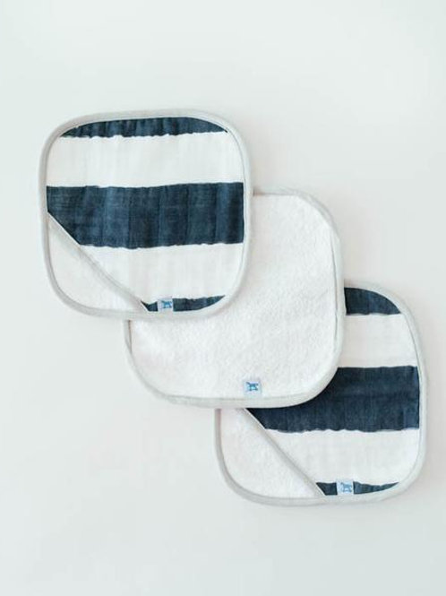 Cotton Wash Cloth 3 Pack - Navy Stripe