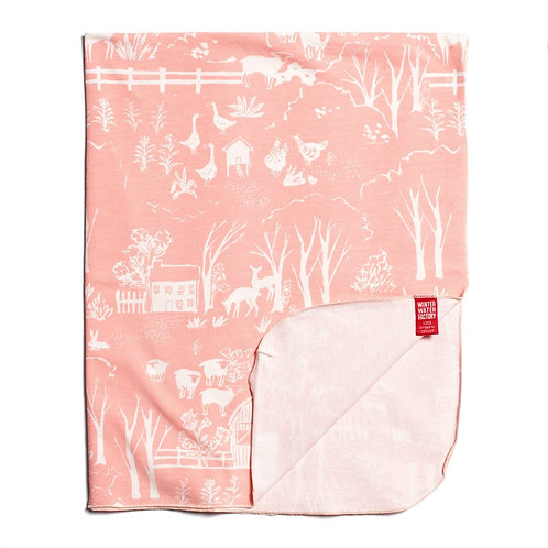 Organic Jersey Cotton Blanket - The Farm Next Door Blush Pink