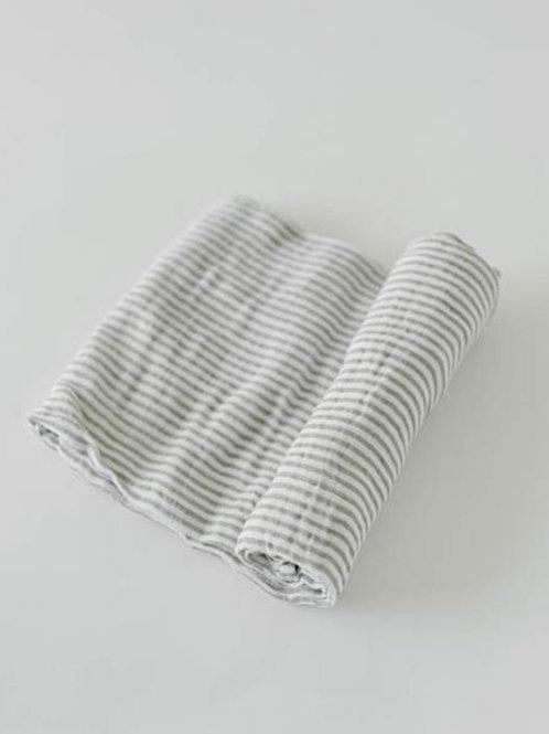 Cotton Muslin Swaddle - Gray Stripe