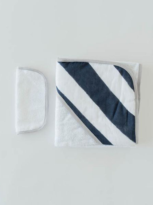 Cotton Hooded Towel & Wash Cloth - Navy Stripe