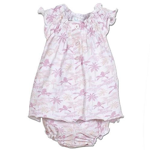 Henley Dress Set Pink Palms on White