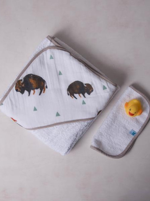 Cotton Hooded Towel &  Wash Cloth - Bison