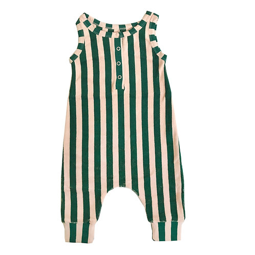 Long Leg Terry Romper - Beverly Hills Stripe
