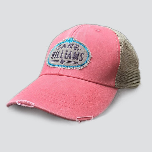 Coral / Tan Stitched Hat