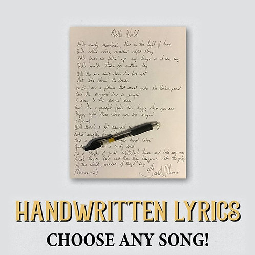 Autographed Handwritten Lyrics