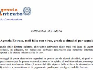 Agenzia delle Entrate - Riscossione: email false per truffa