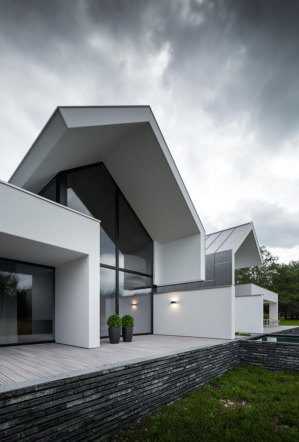 Современный дом. Ландшафтный дизайн в стиле модерн