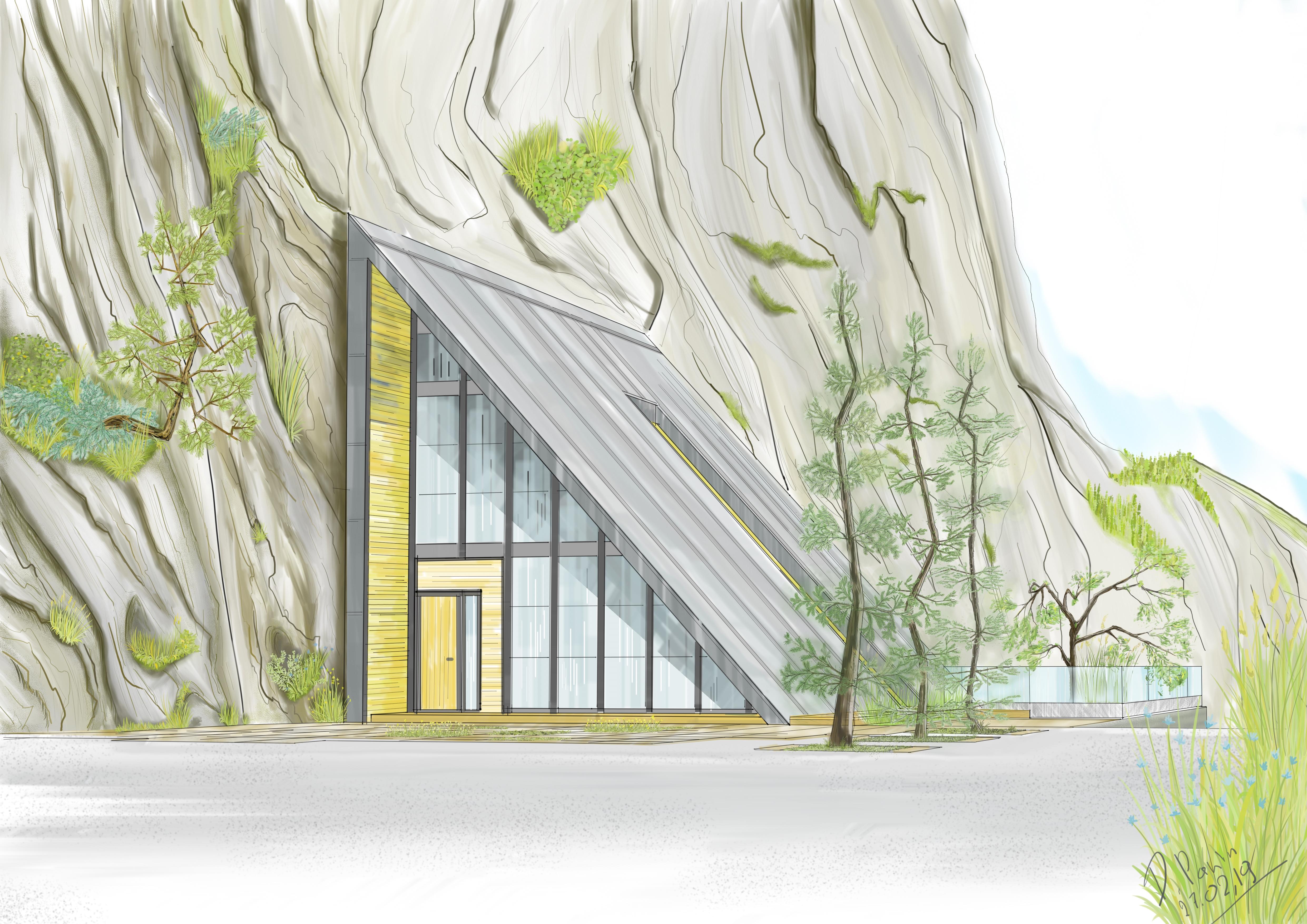 Дом у скалы.