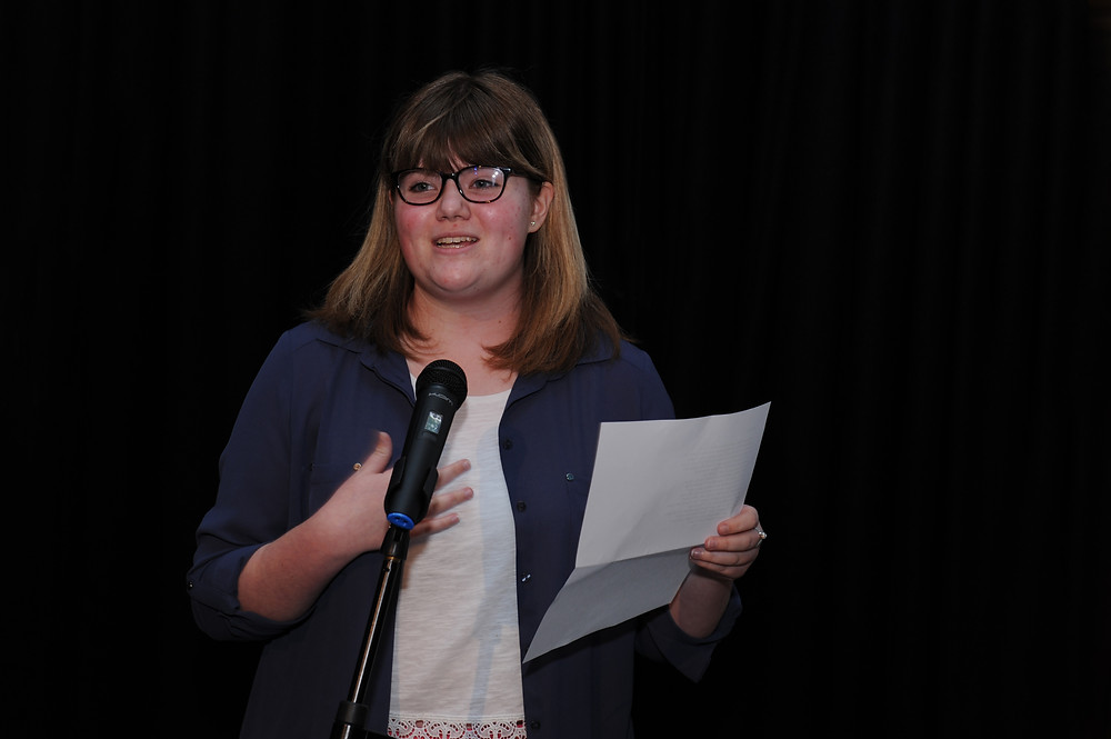 Sophie Lutkin reading her winning poem