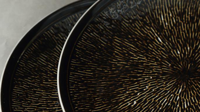 陶瓷复古黑色餐碟