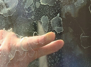 Limescale on shower glass
