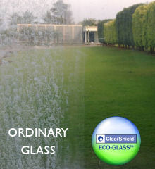 Window with and without ClearShield Eco-Glass protection