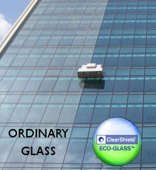 Architectural glass with and without ClearShield Eco-Glass protection