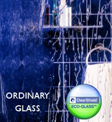 Shower glass with and without ClearShield Eco-Glass protection