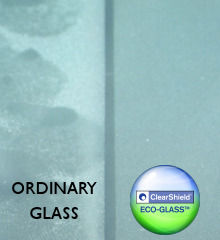 Sandblasted glass with and without ClearShield Eco-Glass protection
