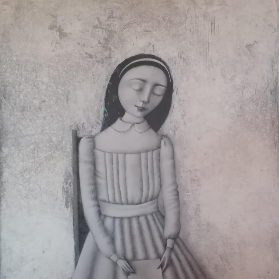 Letter with closed eyes