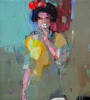 viktor sheleg-girl with flower-olio su t